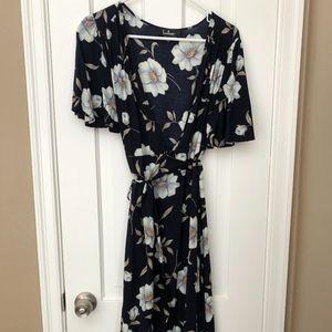 Navy Maxi Floral Wrap Dress